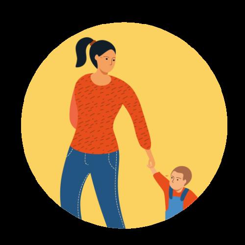 Ilustración de una madre con su hijo pequeño