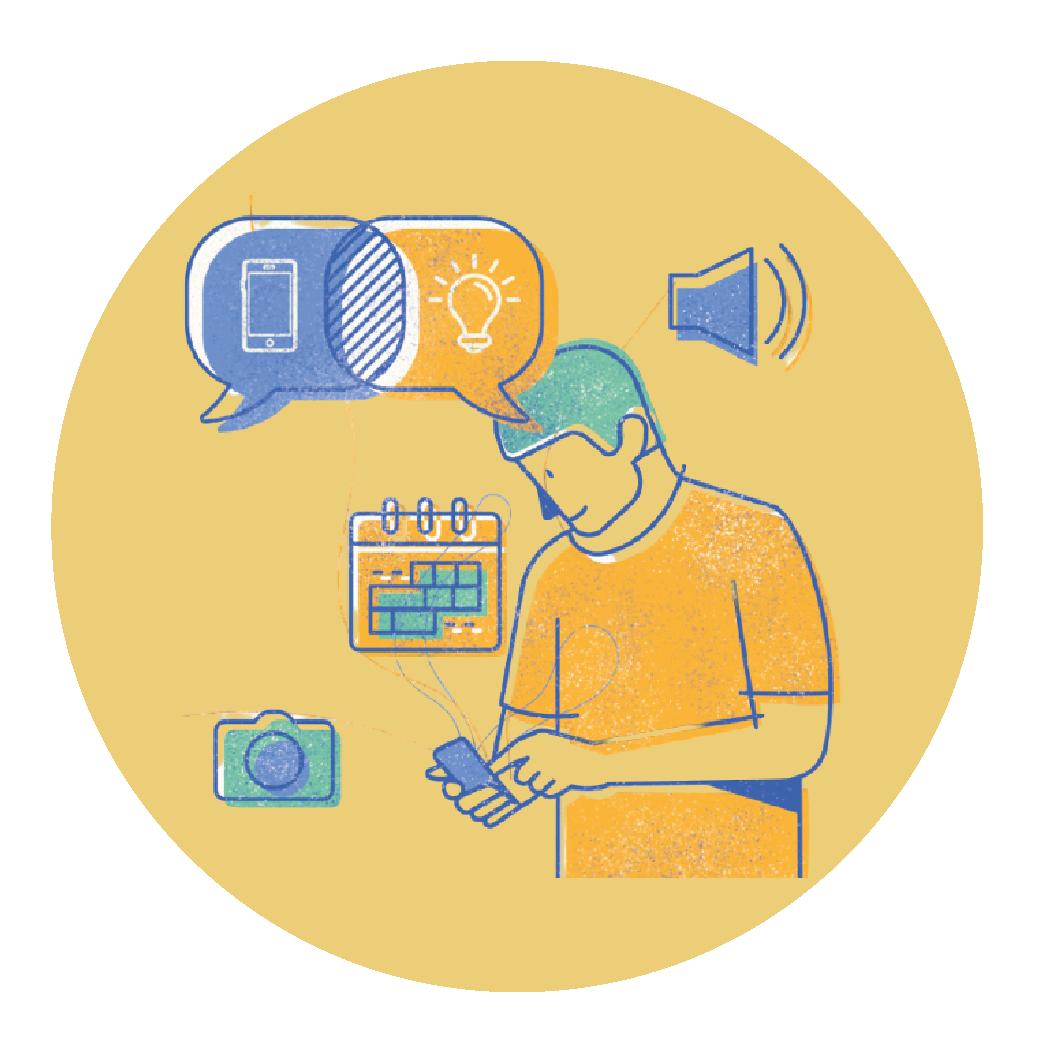 Ilustración de conectados por el aprendizaje.