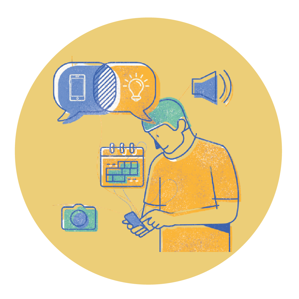 Ilustración de conectados con el aprendizaje