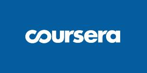 Imagen con el logo de Coursera sobre fondo azul