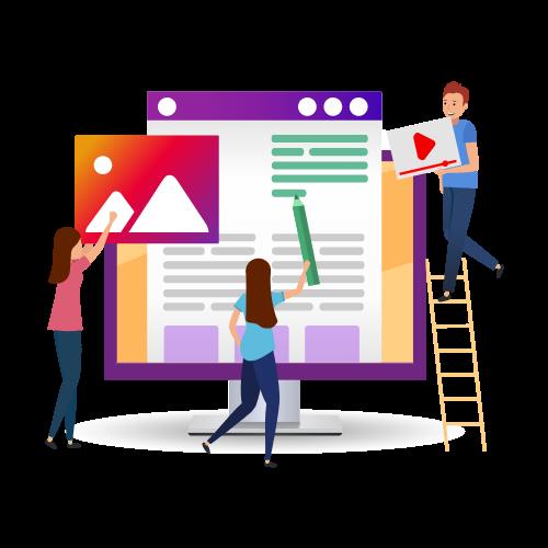 Imagen en vectores, se ve a un equipo de personas construyendo una plataforma web