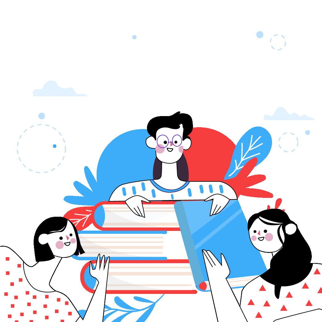 Ilustración de tres personas que sonríen frente a un libro.