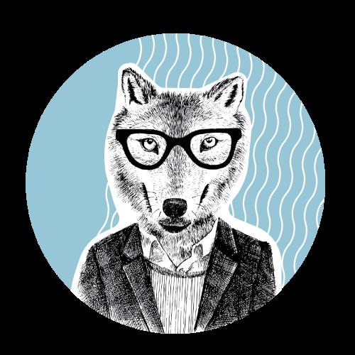 Ilustración de la campaña de la biblioteca digital. Un lobo con gafas.