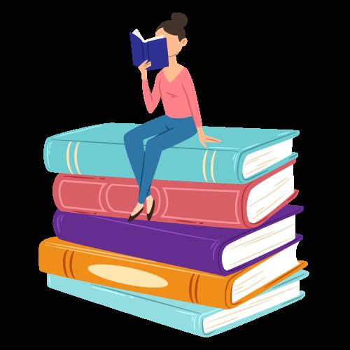 Una joven lee sobre una pila de libros.