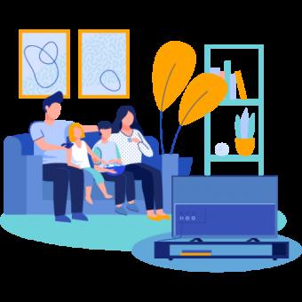 Una familia ve televisión.