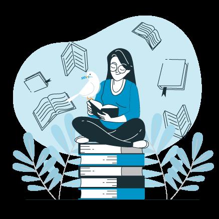 Mujer sobre libros