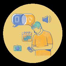 Ilustración de conectados por el aprendizaje